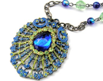 Peacock Feather Necklace, Vintage Jewelry, Sapphire Blue Pendant