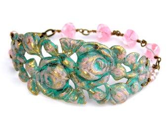 Pink Rose Bracelet, Flower Bracelet, Vintage Rose Bracelet,