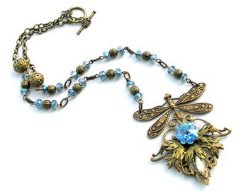 Dragonfly Necklace, Vintage Dragonfly, Vintage Style Jewelry, Sapphire Crystal Necklace