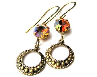 Vintage Rhinestone Holiday Dangle Earrings