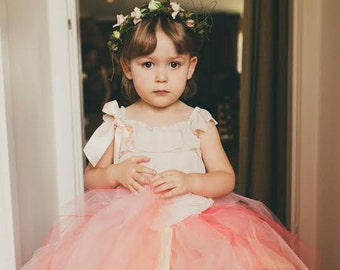 Coral Melon Blush Tulle Skirt - Flower Girl tutu in Coral, Pink, Ivory, and Peach - Sewn long length tutu skirt - custom made for weddings