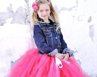 Paris Pink - Hot Pink Tulle Skirt - Bright Pink Tutu - Made to order - flower girls, photography prop, wedding, holidays, long tulle skirt