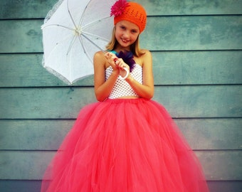 Coral Couture - Coral Tulle Skirt - Coral Pink Tutu - Long tulle skirt - Flower Girl tutu - Made to order