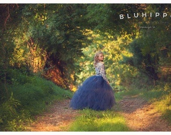 Rustic Couture - Flower Girl Tulle Skirt - Made to order  - Shabby Chic Sewn Tutu  - For Portraits, Flower girls, Formals