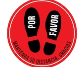 Spanish 6 Pack Retail Floor Decal for Social Distancing