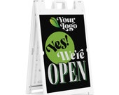 """Custom Sidewalk Sign for business - Deluxe Signicade® Sidewalk Sign with double-facing """"Yes, We're Open"""" inserts signs with your logo."""