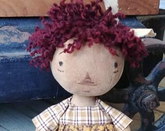 Primitive Raggedy Anne Doll ~ OOAK ~ Handmade ~ Folk Art Doll ~ Prim Doll