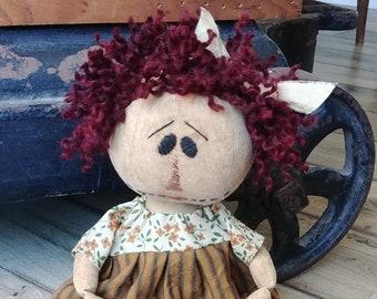 """Primitive Raggedy Ann~OOAK Handmade~Annie~15"""" Prim Doll"""