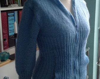 Dr Who inspired light blue cardigan - Mohair - Soft - Rose Tyler - Doomsday - Custom Work