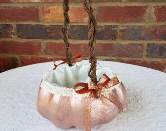 Small Rose Gold Pumpkin Basket for your Fall Wedding