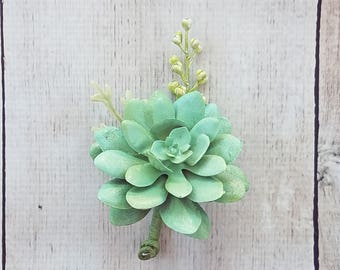 Mint Green Succulent Boutonniere for your Wedding