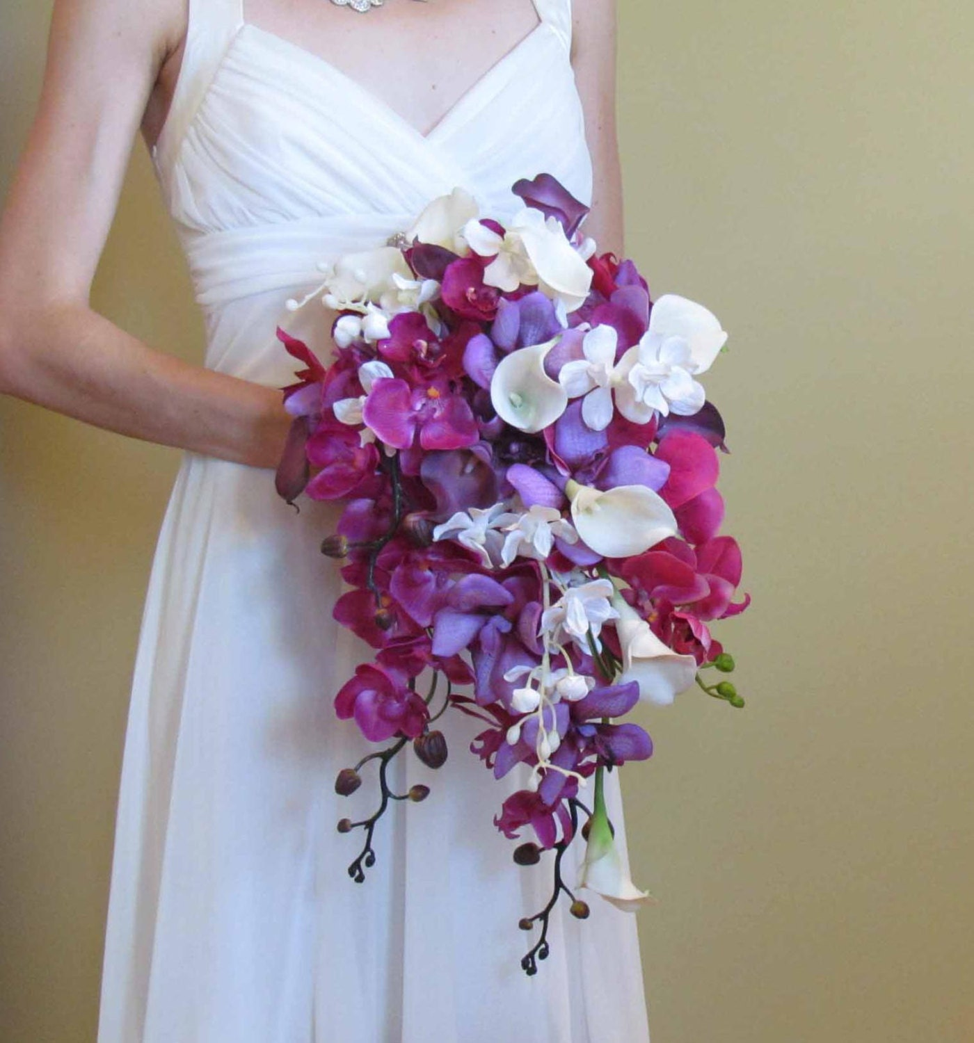 Names Of Purple Flowers For Wedding: Cascading Purple Orchid & Calla Lily Bouquet For Your