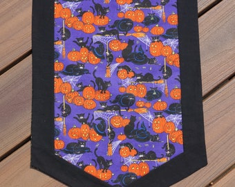 Halloween Table Runner, Black Cats, Pumpkins, Spiderwebs Reverses to Rich Leaf Design for Spring, Summer and Fall 13 1/2 x 46 -READY TO SHIP