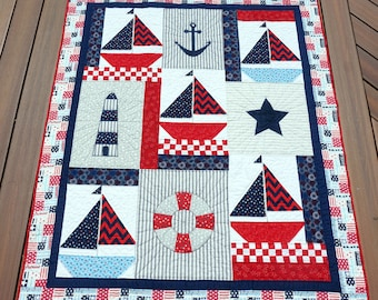 """50"""" x 61"""" Nautical Red, White & Blue Lap or Throw Quilt, Sailboats, Lighthouse, Anchor, Star- READY TO SHIP with Free Shipping!"""