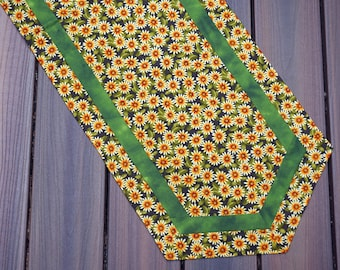 """Gerber Daisy Table Runner Reverses to White Doves with Ribbons and Holly for Christmas and Winter 14 1/2"""" X 46"""" - READY TO SHIP"""