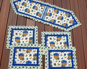 """5Pc. Blueberry Table Runner & Placemat Set, Spring, Summer, Fall Reverses to Christmas Poinsettias  14 1/2"""" x 47"""", 13"""" x 17""""-READY TO SHIP!"""