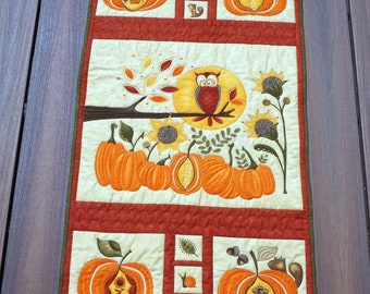 """23"""" x 40"""" Detail Quilted Fall and Halloween Wall Hanging Quilt, Lots of Pumpkins, An Owl, Bugs, Moon, Wall Quilt, Door Quilt, Gift"""