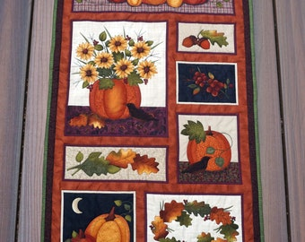 Detail Quilted Fall & Thanksgiving Wall Hanging Quilt, Sunflowers, Pumpkins, Blackbirds and Grapes for Fall and Halloween - READY TO SHIP!