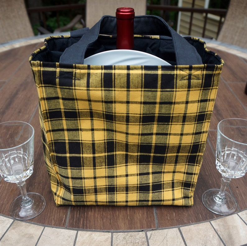 4 Pocket Picnic Pak Wine Bottle Bag for Winery Hopping or Beach Picnic