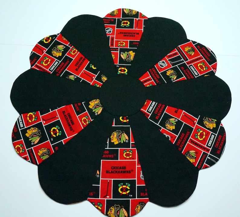 READY TO SHIP Chicago Blackhawks Table Topper Reverses to Halloween Candy on Black