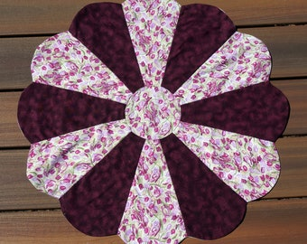 """24 1/2"""" Pink & Burgundy Tulip Table Topper, Spring, Summer, Mother's Day Gift, Birthday Gift  Reverses to Pastel Easter Eggs -READY TO SHIP!"""