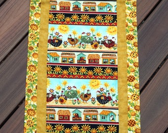 """Quilted Chickens and Sunflowers Table Runner, Reverses to Gold Snowflakes for Christmas & All Winter - 14"""" x 43"""" - READY TO SHIP!"""