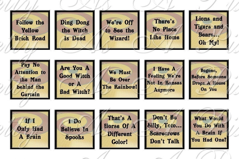 Wizard of Oz Quotes Sampler Size - 3 sizes - Inchies, 7-8 inch, AND  scrabble size  75 x  83 inch - Digital Collage Sheet - INSTANT DOWNLOAD