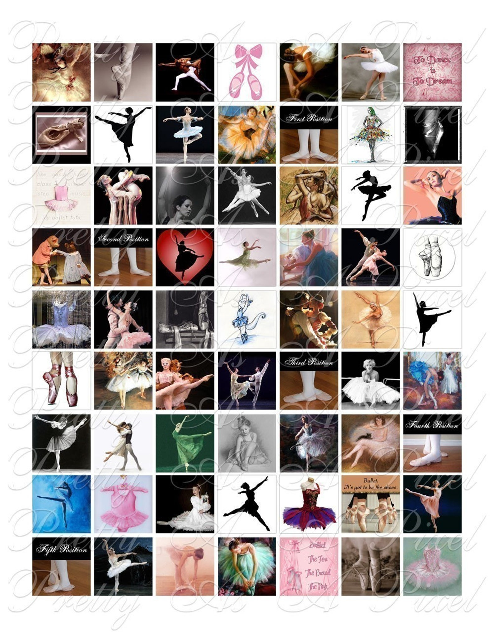 ballet images - 3 sizes - inchies, 7-8 inch, and scrabble tile size .75 x .83 inch - digital collage sheet - instant download