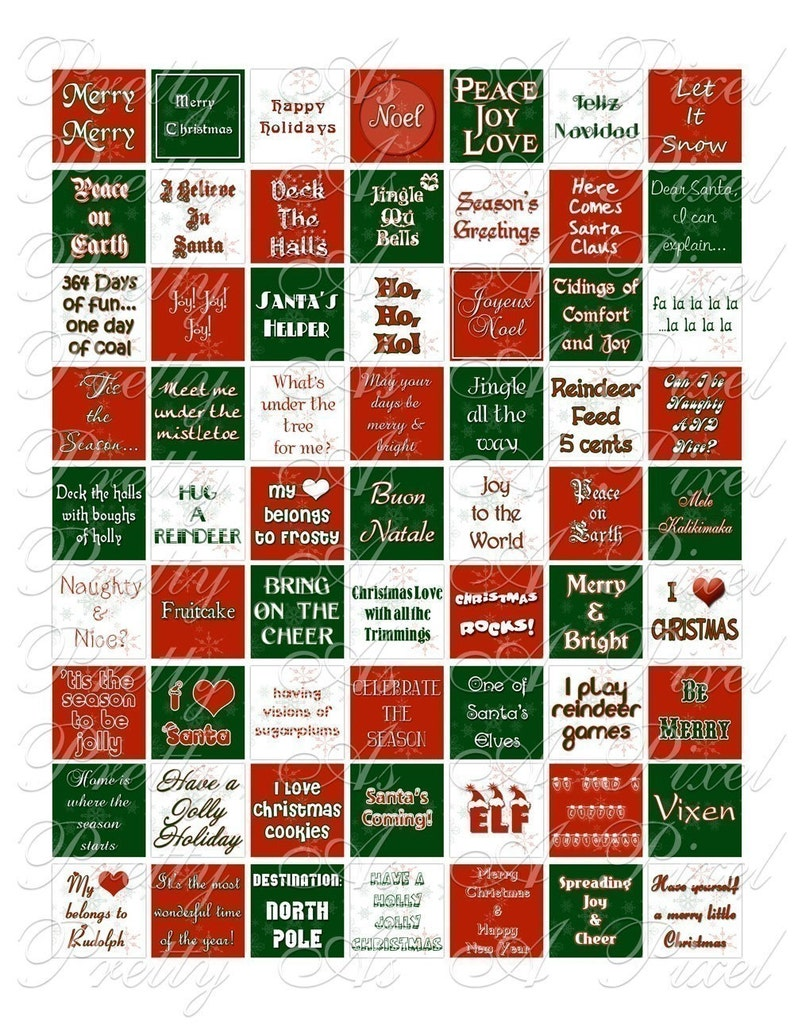 Christmas Holiday Words and Phrases - Inchies, 7-8 inch, AND scrabble tile  size  75 x  83 inch - Digital Collage Sheet - INSTANT DOWNLOAD