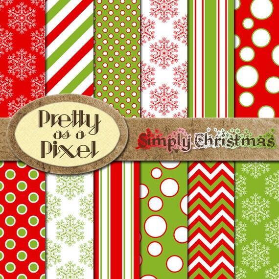 Pack De Imprimibles Scrapbook Papel Simplemente Navidad 12 Etsy