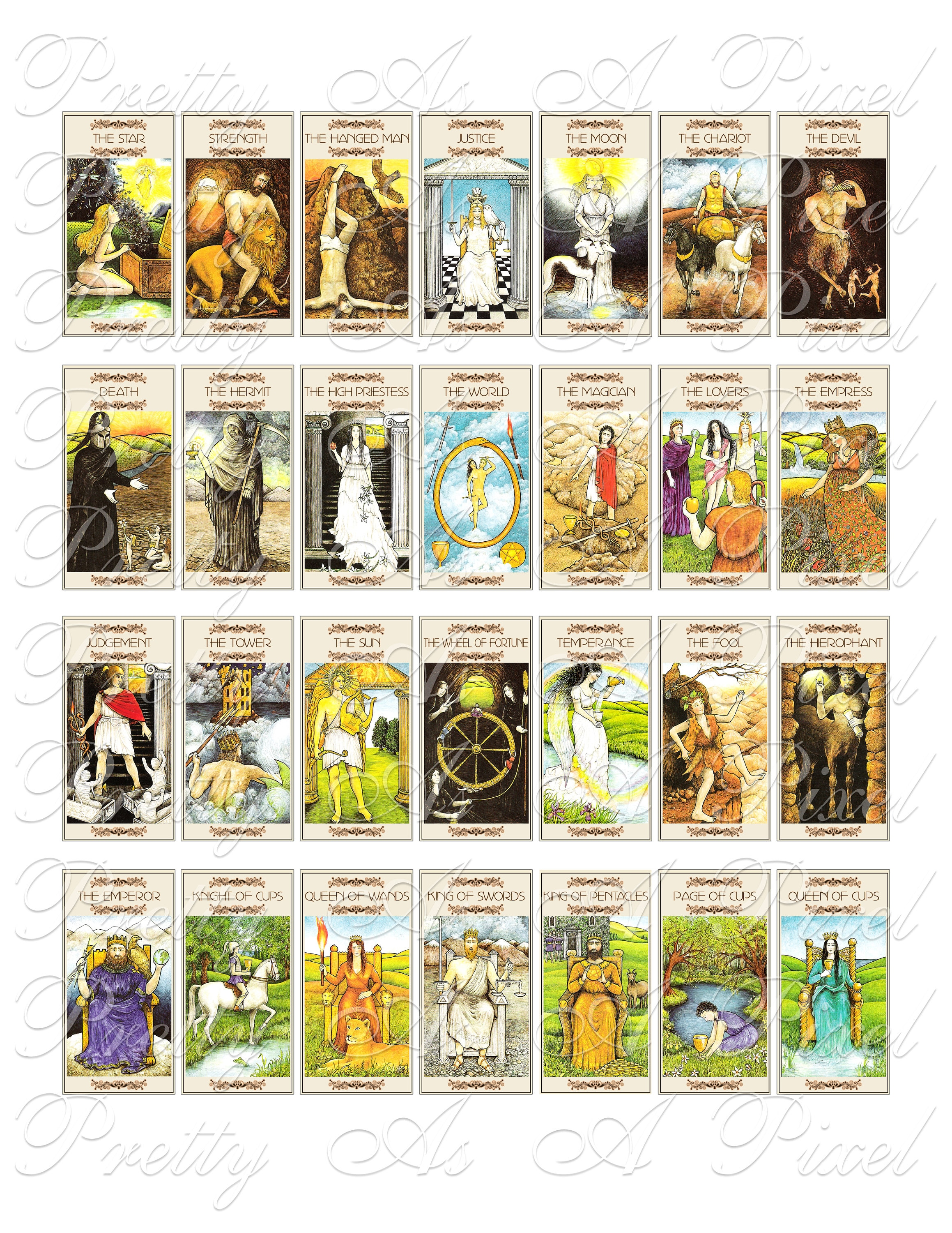 Vintage Tarot Cards - Domino Size 1 x 2 inch - INSTANT DOWNLOAD - Digital  Collage Sheet
