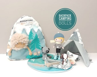 ADVENTURE BACKPACK with Pocket Studio Boy Doll, Friends and Camping Set