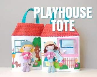 PLAYHOUSE TOTE with Pocket Studio Doll and Friend - Girl, Dollhouse, Doll, Travel, Tote Made to order