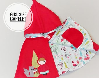 WOOL CAPELET - Red Riding Hood Cape, Made to Order, Children Outfit, Costume, Pretend, Jacket