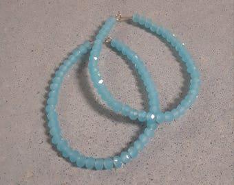 Sea Aqua Crystal Hoops