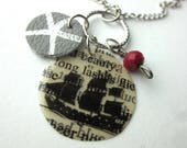 Book Page Charm Necklace,...