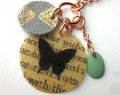 Book Page Butterfly Charm...