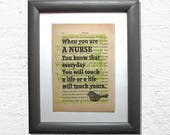 Nurse print on a book pag...