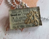 Book page pendant necklac...