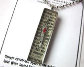 Book page resin pendant n...