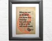 Nurse print on a book pag...