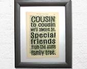 Cousins print on a book p...