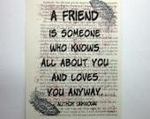 Friend print on a book pa...