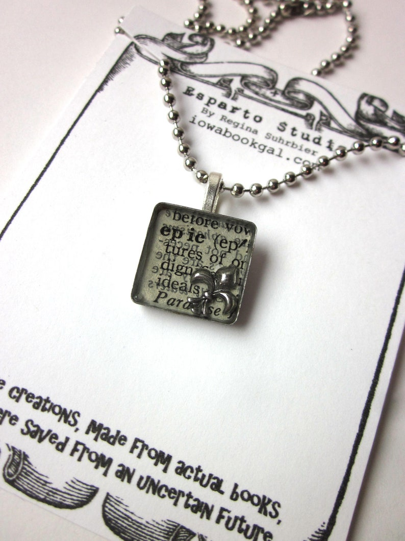 recycled jewelry Epic book page resin bezel necklace literary jewelry