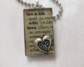 Book Page Lovable Pendent...