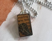 Book Page Pendent Necklac...