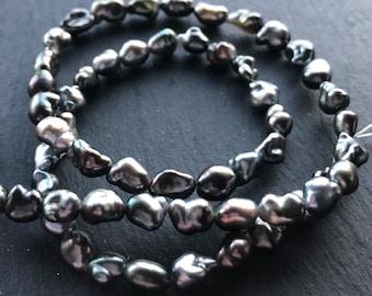 "Rare 18/"" 25mm baroque black keshi reborn pearl necklace pendant"