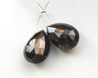 Large Faceted Chocolate Sapphire Briolettes Pair