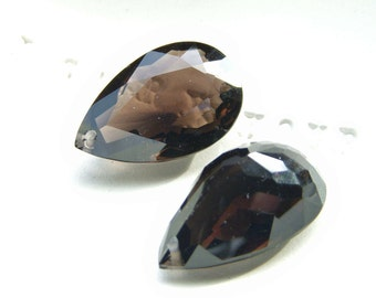 Large Smokey Quartz Pan Cut Briolette Pair
