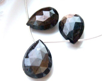 Large Faceted Chocolate Sapphire Briolettes - Pair and Focal